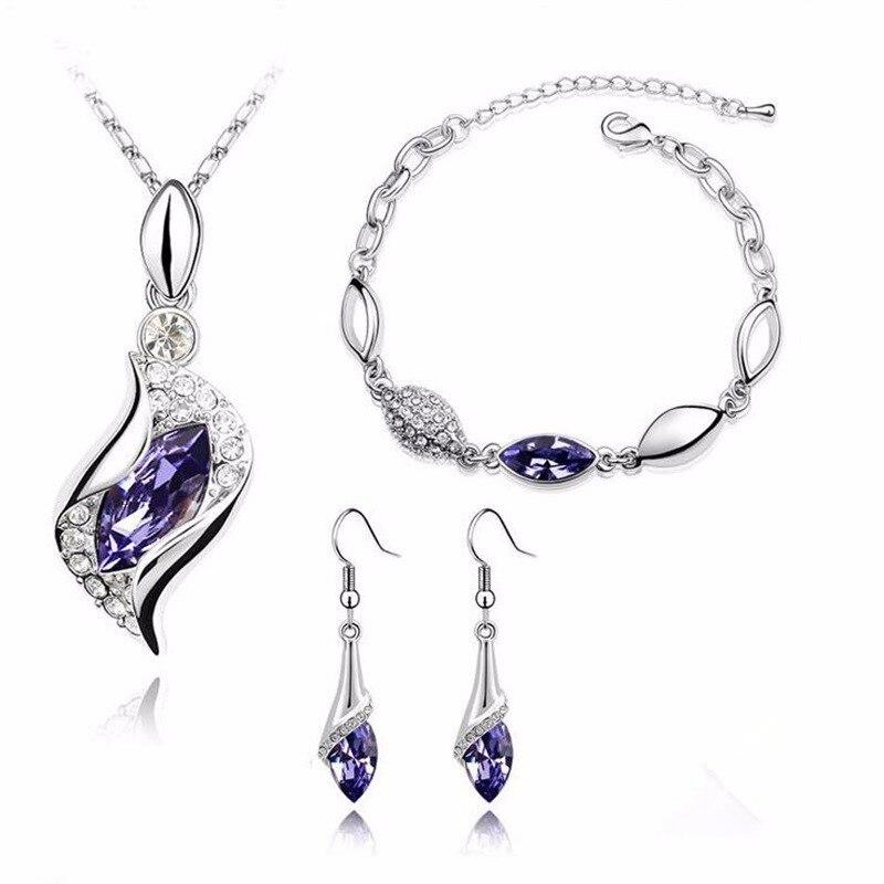 Amazing Price Elegant luxury new fashion colorful Austrian crystal Necklace Earrings Bracelet jewelry sets women
