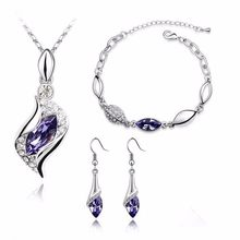 Top Quality Elegant luxury new fashion Silver plated colorful Austrian crystal Necklace Earrings Bracelet jewelry sets women(China)