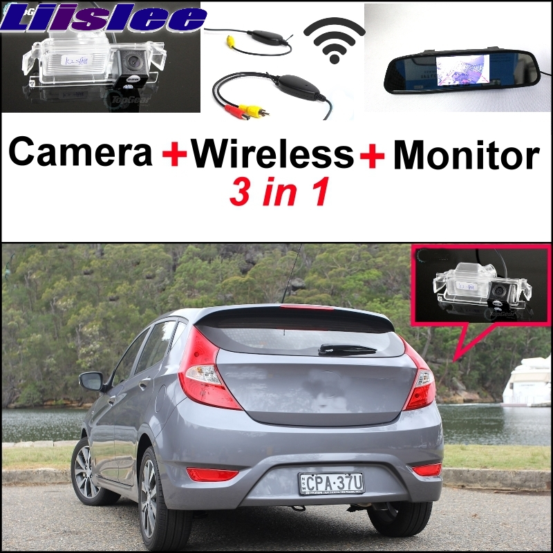 Liislee Special Camera + Wireless Receiver + Mirror Monitor Back Up Parking System For Hyundai Accent RB Blue Wit i25 Hatchback hyundai accent hatchback ii бу москва