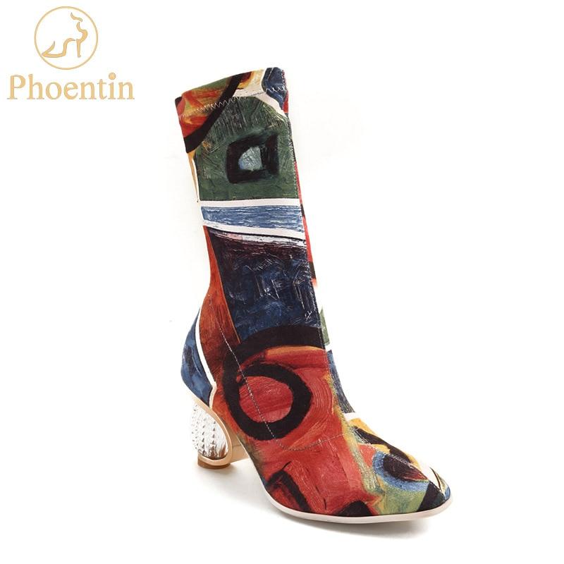 Phoentin coloré peint bottes femmes stretch tissu 2019 rétro femme botte cristal talons court et long bottes femmes chaussures FT462-in Bottines from Chaussures    1