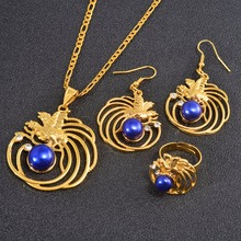 Anniyo PNG Blue Pearl Bird Pendant Necklaces Earrings Ring Papua New Guinea Clothing Jewel
