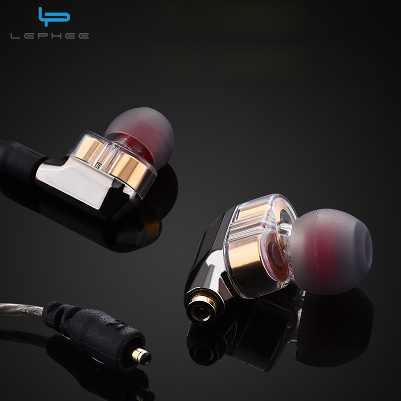 LEPHEE Pro Dual Dynamic Driver Professional In-Ear Earphone HIFI DJ Monitor Sport Bass Earphones Phone Headset For iPhone Mi A1 ufo pro metal in ear earphones treadmill female drug sing karaoke audio headset diy mobile phone