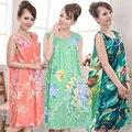 Hot sale Women Nightgown Flower Spaghetti Strap Sexy Cotton Splicing Nightwear O-Neck Summer Sleepwear Ladies Night Dress