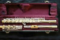 Армстронг 303 бренд C мелодия Мельхиор Посеребренная флейта поверхность Золотой пластина для губы E ключ 17 Отверстия открытым флейта, музыкал