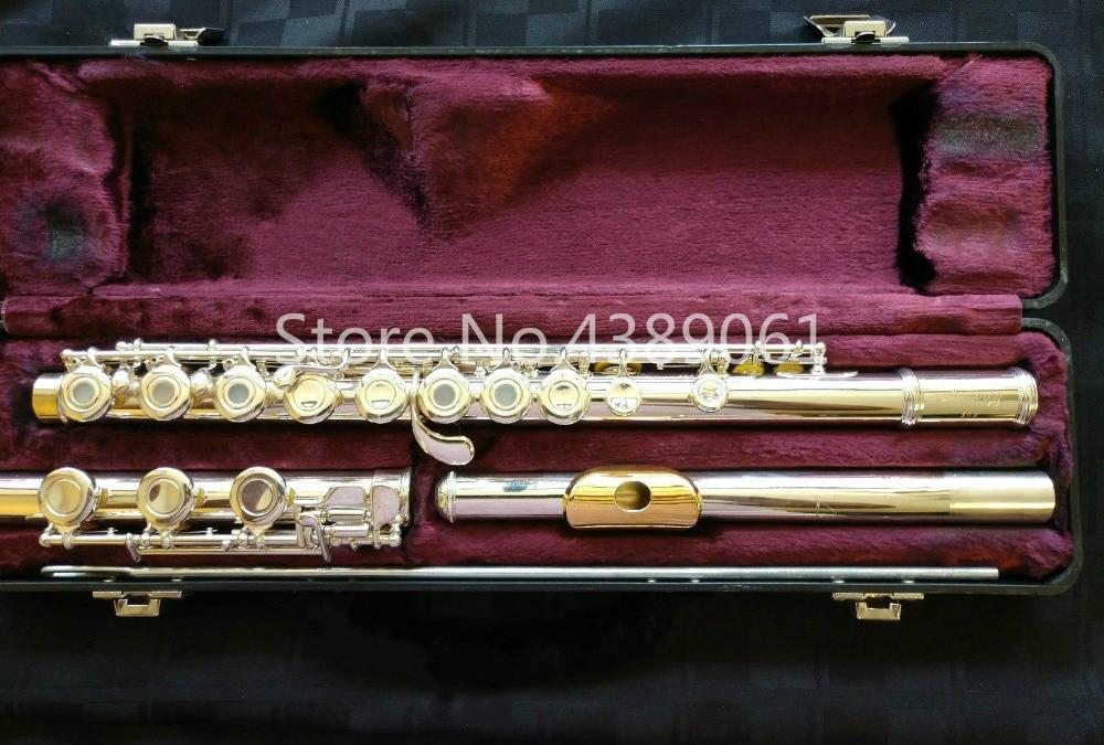 Amstrong 303 marca C Tune Cupronickel flauta Chapado en plata superficie oro labio placa E llave 17 agujeros abierto flauta Musical instrumento