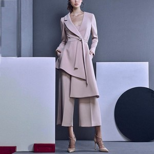 Image 1 - LANMREM 2020 חדש אופנה סדיר V צווארון תחבושת בלייזר + Loose רחב רגל מכנסיים לנשים אביב נשי של 2 חתיכות סט YG62111