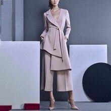 LANMREM 2020 nowych moda nieregularne V kołnierz bandaż Blazer + luźne spodnie z szerokimi nogawkami dla kobiet wiosna kobiet 2 sztuk zestaw YG62111