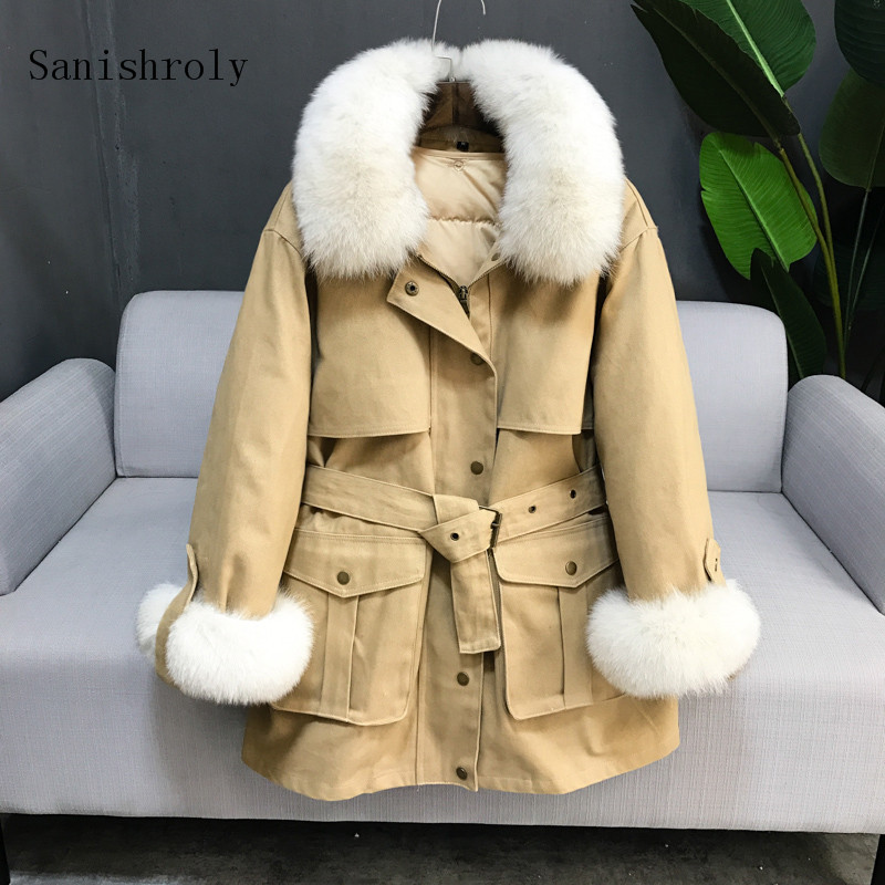 Sanishroly Two-piece Winter Women Sashes Midi Long   Coat   Warm Thick White Duck   Down   Jacket Parka Female Fur Collar Outerwear S693
