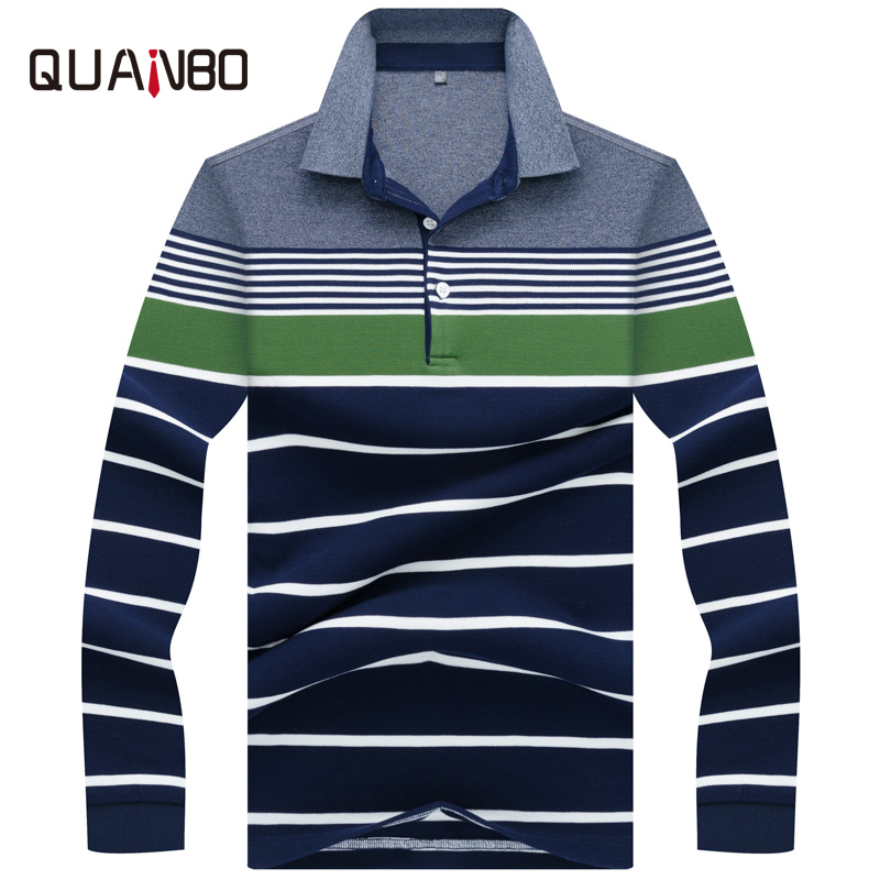 QUANBO High Quality 3D Embroidery   Polo   Shirt 2018 New Spring 100% Cotton Men's Long Sleeve   polo   shirt Striped Casual   Polos