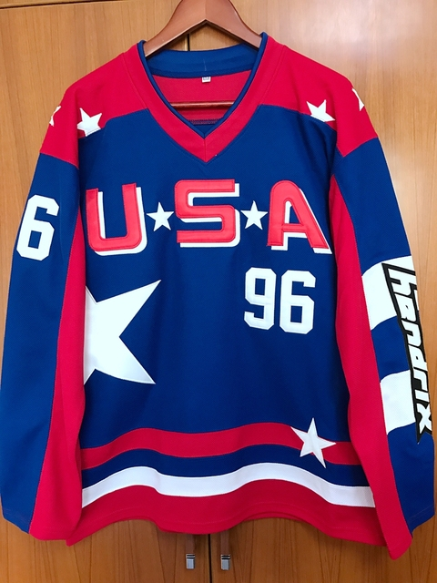 0dc28a21c SexeMara EJ Mighty Ducks D2 Movie Team USA Jersey  96 Charlie Conway shirts  (custom any number name) size small S - 4xl