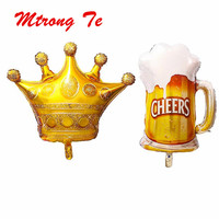 50pcs/lot Large Size Princess Crown Beer Mug Helium Foil Balloons Gold Ballons Birthday Party Decorations Kids Carnival Supplies