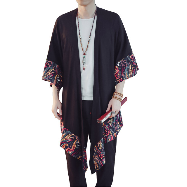 Men Fashion Casual Loose Thin Kimono Jacket Overcoat Men Spring