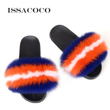 ISSACOCO Summer Women Real Fox Fur Slides Non-slip Fluffy Slippers Furry Ladies Plush Hair