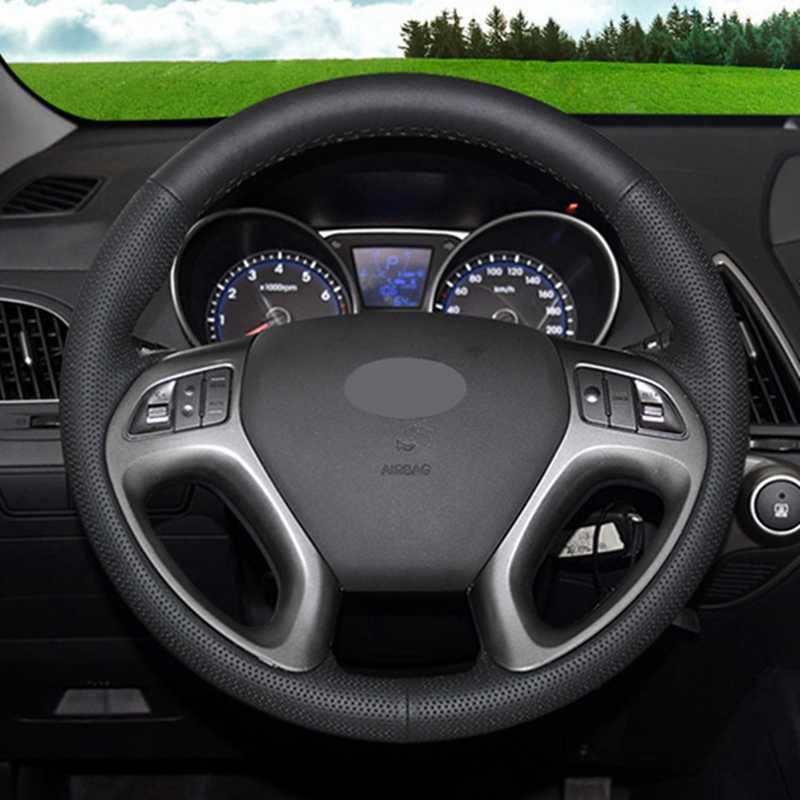 Cubierta de volante suave de cuero Artificial cubierta de volante de coche negro para Hyundai ix35 Tucson 2011-2015