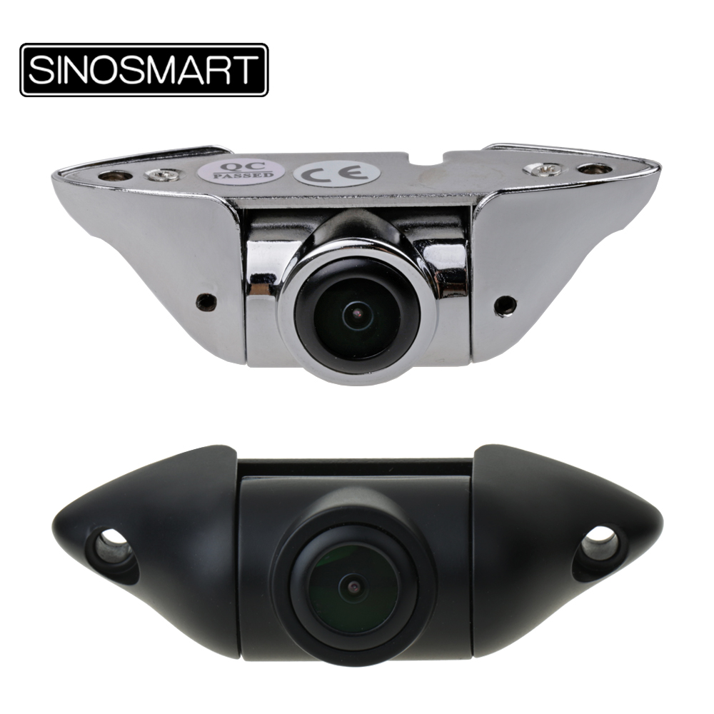 SINOSMART HD Universal Wired Parking Reverse Backup Camera Vertical Installation Stainless Steel Chrome Black Adjustable Lens