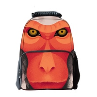 New fashion 3D personality printing backpacks felt monkey print student backpack large capacity multi function children backpack