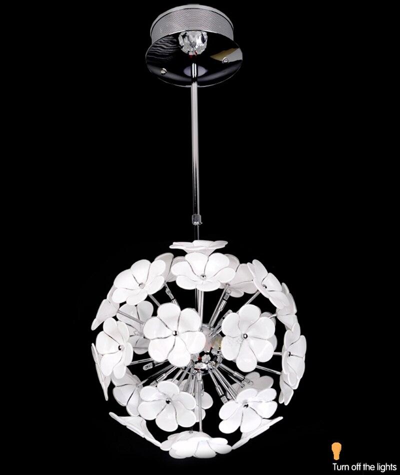 Fashion Modern Simple White Glass Flower Pendant Light Free Ems