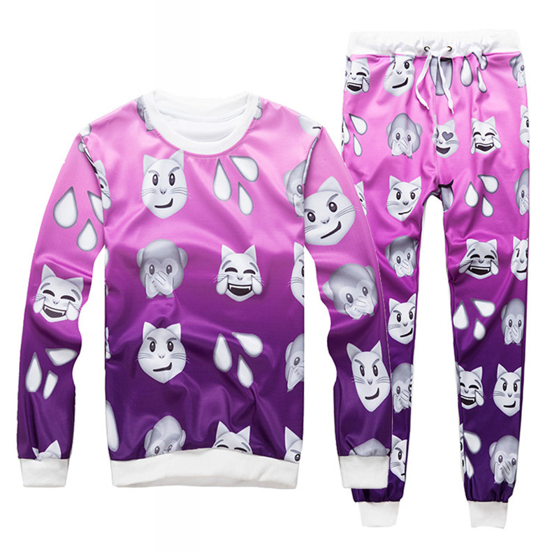 Emoji Style 2017 New Fashion Mens/womens Water Drop Monkey Cat Emoji Printed 3d Sweatshirt & Jogger Pants Casual Tracksuits Men's Clothing