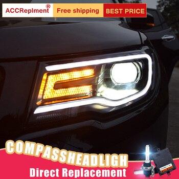 2Pcs LED Headlights For Jeep compass 2017-2018 led car lights Angel eyes xenon HID KIT Fog lights LED Daytime Running Lights