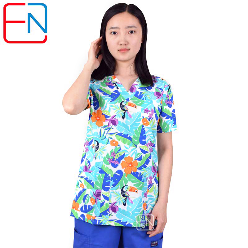 Hennar Print Women Medical Scrub Tops Short Sleeve Women Scrub Tops Medical Uniform Hospital Clinic Dentist Women Nurse Costumes