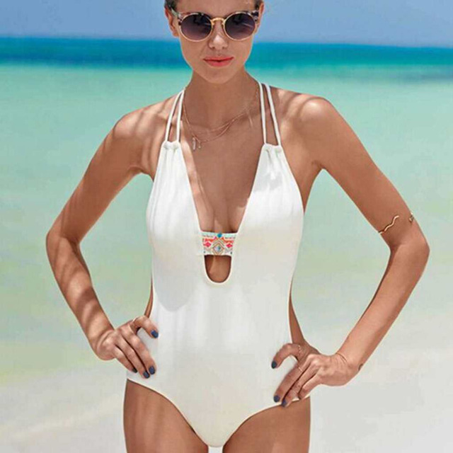 c4474926b3 2019 New Sexy folk-custom Women One Piece Swimsuits Sexy Female Swimwear  Halter turtleneck Bathing Suits One-Piece Swimsuits
