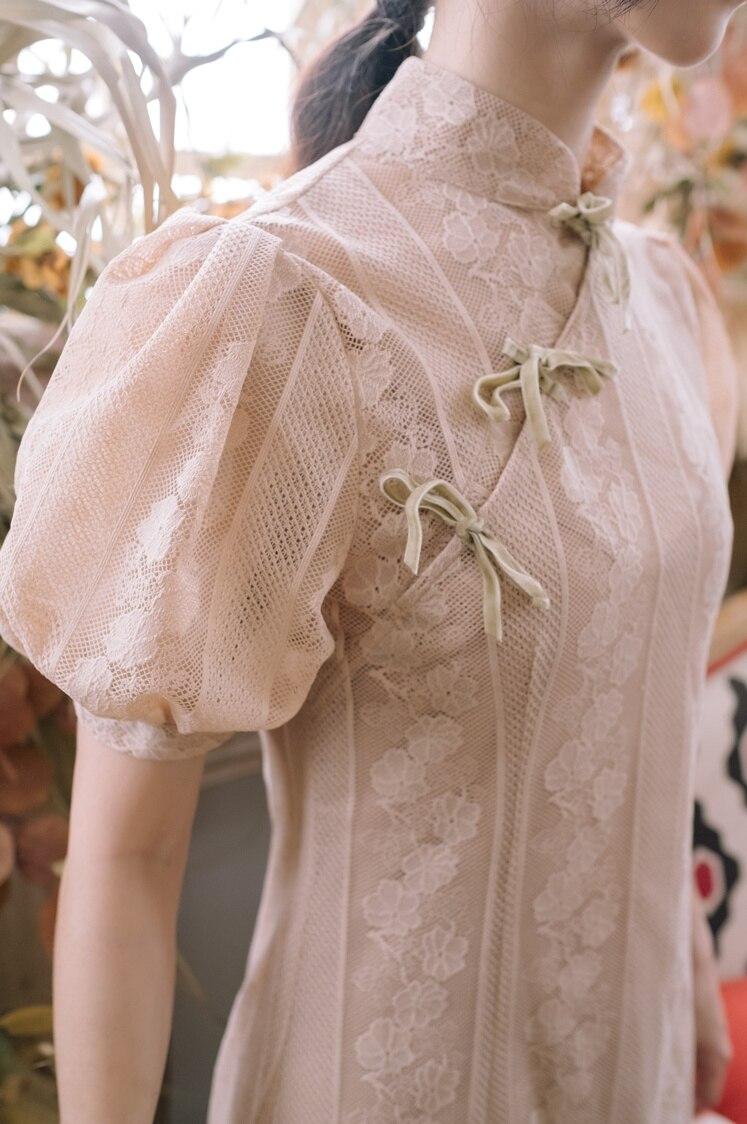 Новое модное женское кружевное платье во французском стиле платья с пышными рукавами