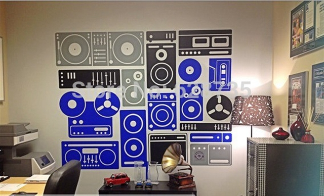 Large Size 200x155cm Music Equipment Vinyl Wall Art Stickers Musical Wall  Decals For Home/ Music