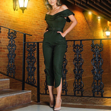 women fashion new off shoulder OL office lady jumpsuits femael vogue ruffled with belt slim fit