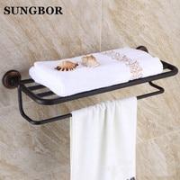 Black Fixed Bath Towel Holder Wall Mounted Towel Rack 60 cm Brass Towel Shelf Towel Rail Bathroom Accessories GJ 5412H
