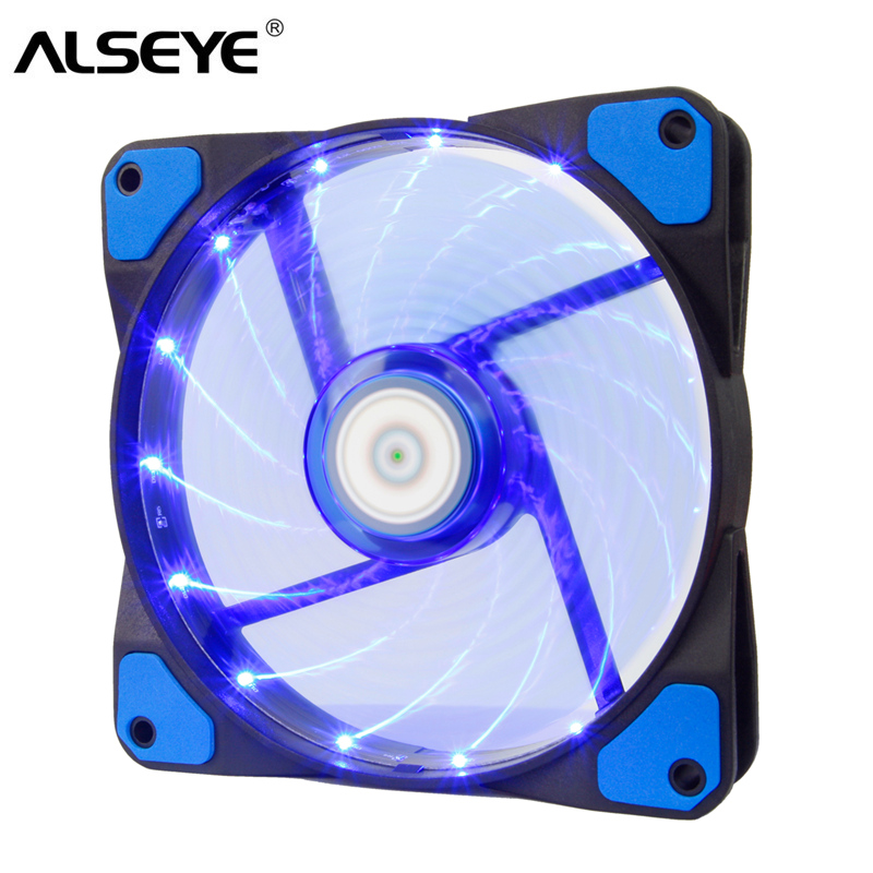 ALSEYE 120mm LED Cooler Fan for Water Cooler PC Fan Radiator 12V 3-4pin 1300RPM Computer Case Fan LED x 15 pieces alseye computer fan cooler pwm 4pin 120mm pc fan for cpu cooler radiator pc case 12v 500 2000rpm silent cooling fans