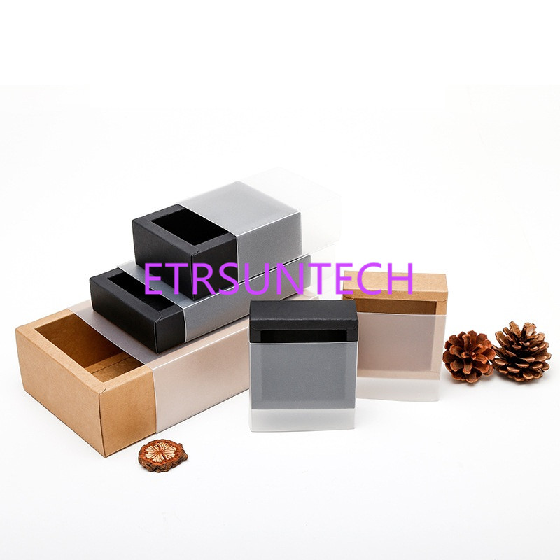 100pcs/lot Frosted PVC Cover Kraft Paper Drawer Boxes DIY Handmade Soap Craft Jewel Box for Wedding Party Gift Packaging