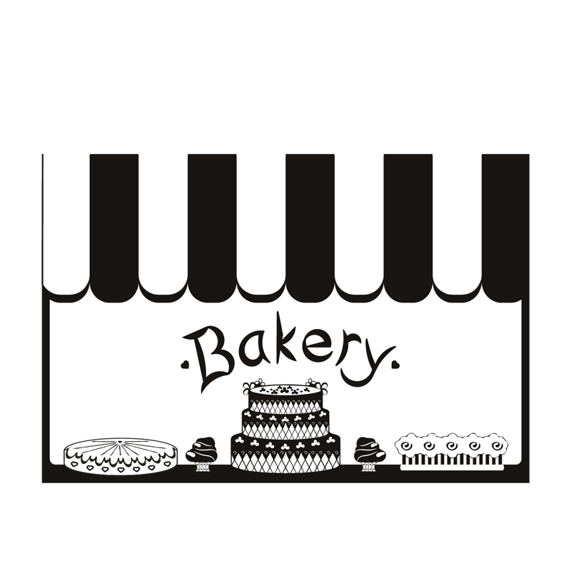 Fashion Waterproof Removable Vinyl Decal Cake Bakery Kitchen Home Decor Black Wall Sticker China