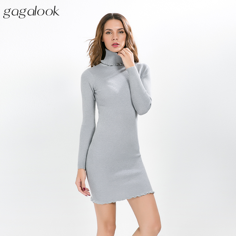 gagalook Knitted Winter Dress Women Office Sexy Red Black Short Bodycon Ruffle Turtleneck Sweater Dress Robe Pull 2017 D0101