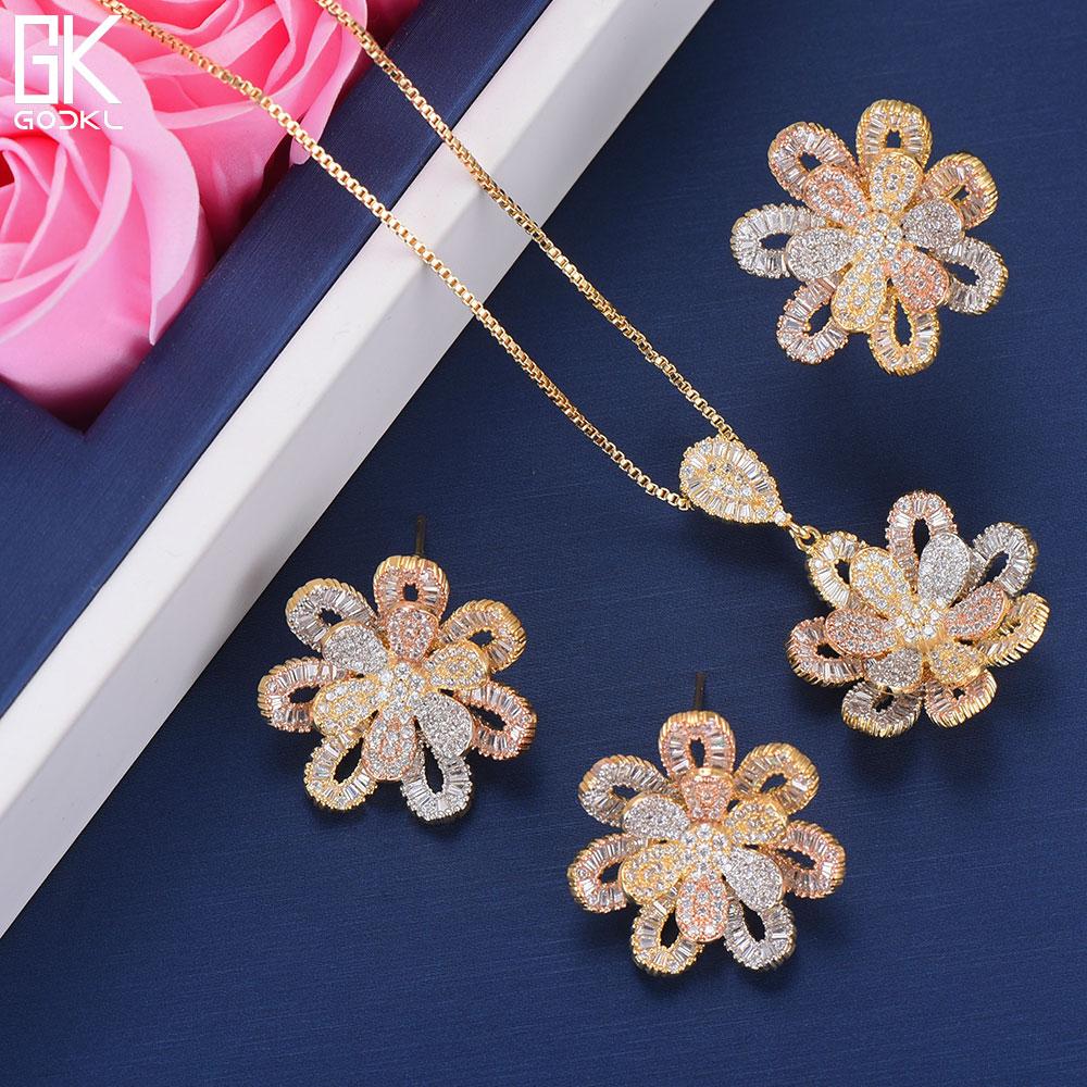 GODKI Luxury Flower Nigerian Cubic Zircon Ring Necklace Earring Jewelry Sets For Women Wedding Indian Dubai