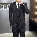2016 новая зимняя бизнес мужской костюм-тройку Корейской Тонкий мужская плед досуг костюмы свадебные (куртки + жилет + брюки)