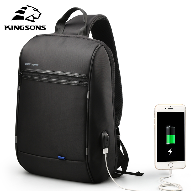 Kingsons 13.3 inch Anti-theft USB Charging Messenger Chest Bag Wateproof Single Shoulder Laptop Backpack for Men Women