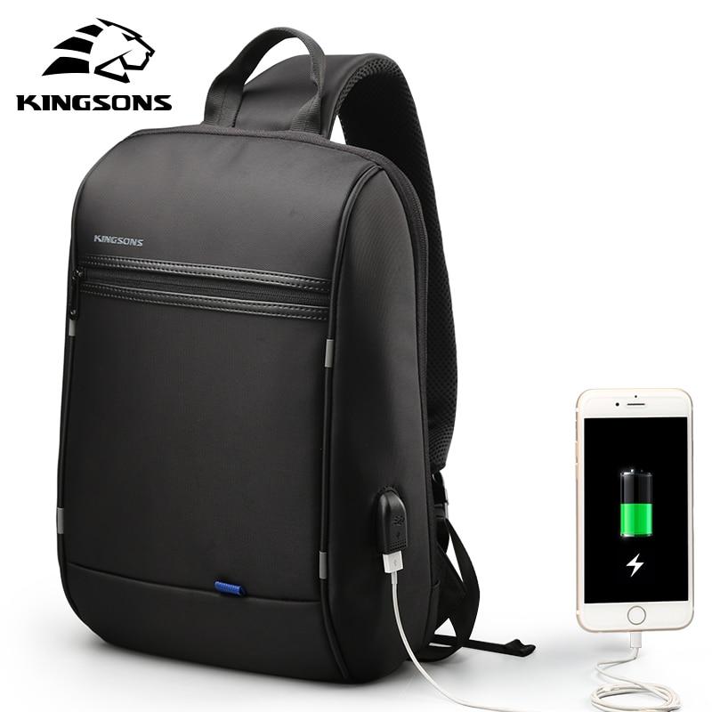 Kingsons 13.3 inch Anti-theft USB Charging Messenger Chest Bag Wateproof Single Shoulder Laptop Backpack for Men Women
