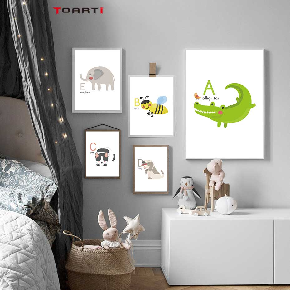 Cartoon Animals Alphabet Prints Posters Alligator Bee Canvas Painting On The Wall Colorful Art Pictures Kids Bedroom Home Decor-in Painting & Calligraphy from Home & Garden