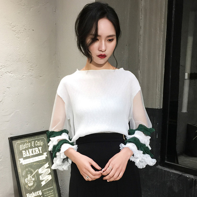 Hot Sexy Spring Summer Mesh Patchwork Spliced Knitted Flare Sleeve