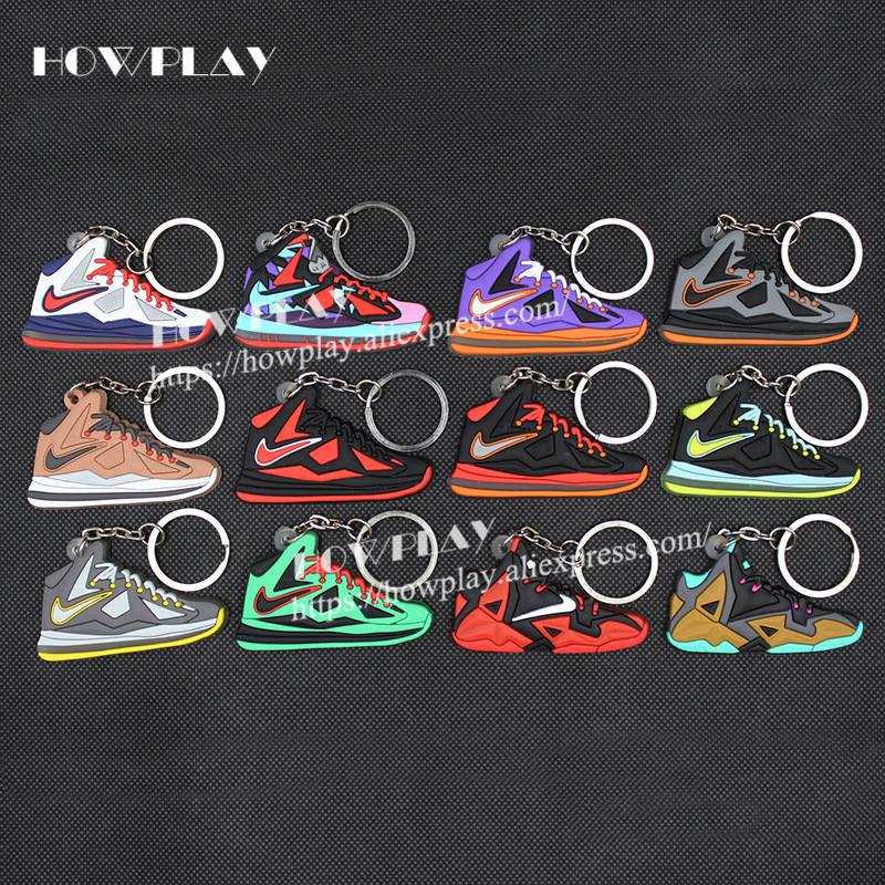 43f4e336cb HowPlay 100 pcs AJ james Keychain Basketball Shoes Creative Gift keyring  for Air Jordan fans model