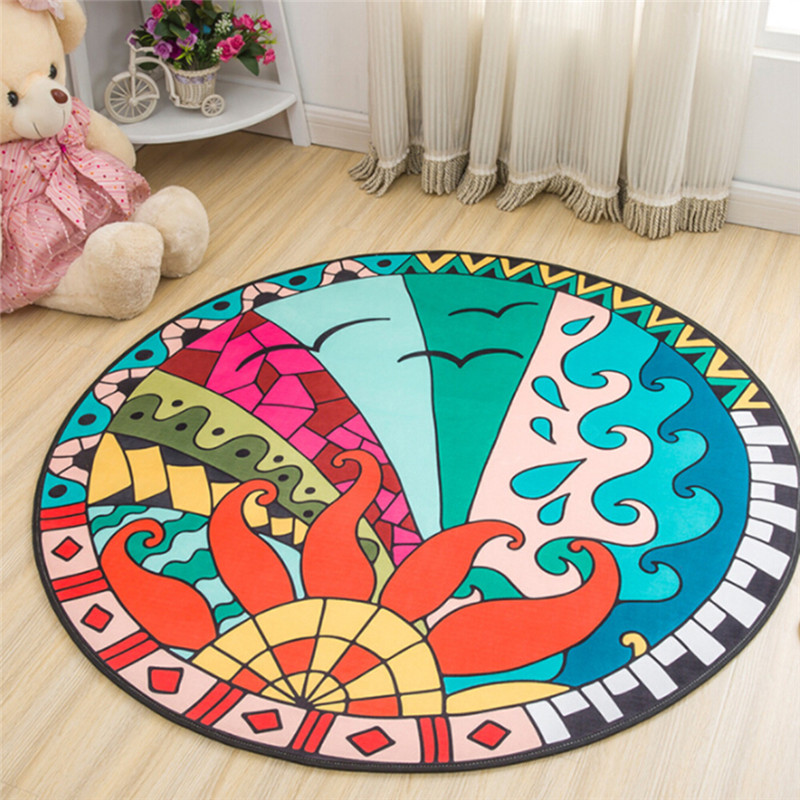 Mat Round Elephant Seagull Deer Print Crawling Blanke  Rug Floor Carpet Baby Gym Activity Room Decort Infant Game Pad