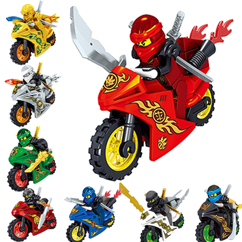 8Pcs Ninjagoing Action Figure Blocks Ninjagoes with Motorcycle Weapons Building Blocks Compatible Legoed Bricks Toy For Children