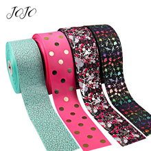 JOJO BOWS 75mm 2y Grosgrain Stain Ribbon For Crafts Bronzing Printed Tape Needlework DIY Hair Bows Materials Festival Decor