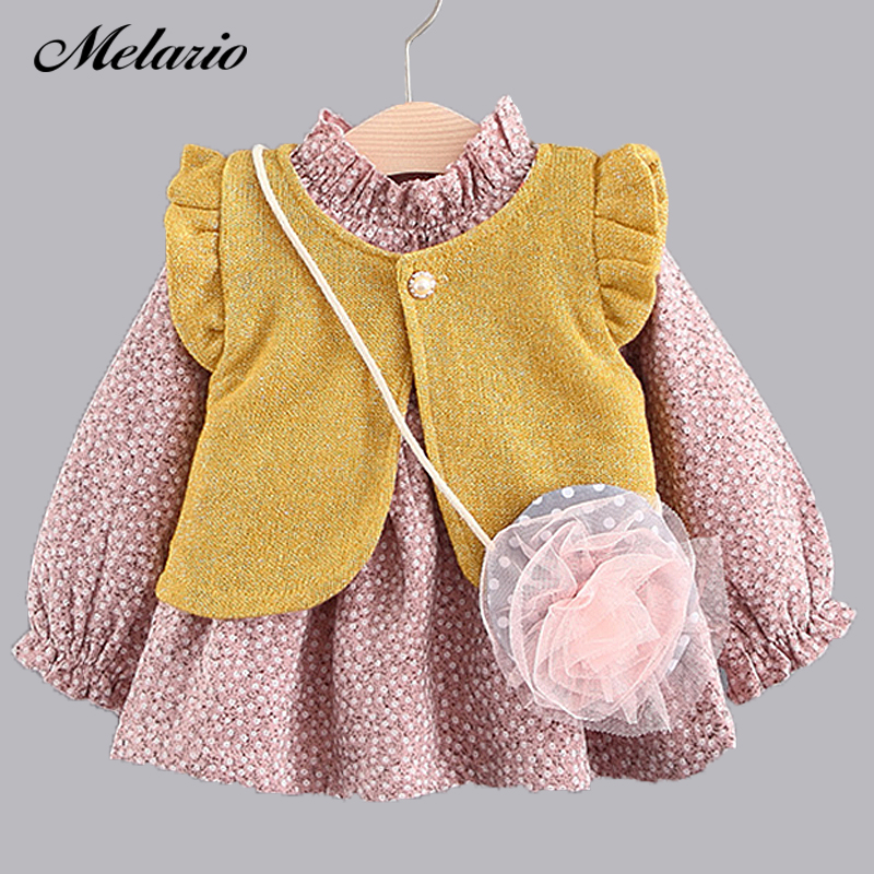 Melario Baby Girl Dress 2017Newborn Clothes Summer Bow decoration Sweet cute Princess Dress Cotton Kids Dress Infant Baby Dress