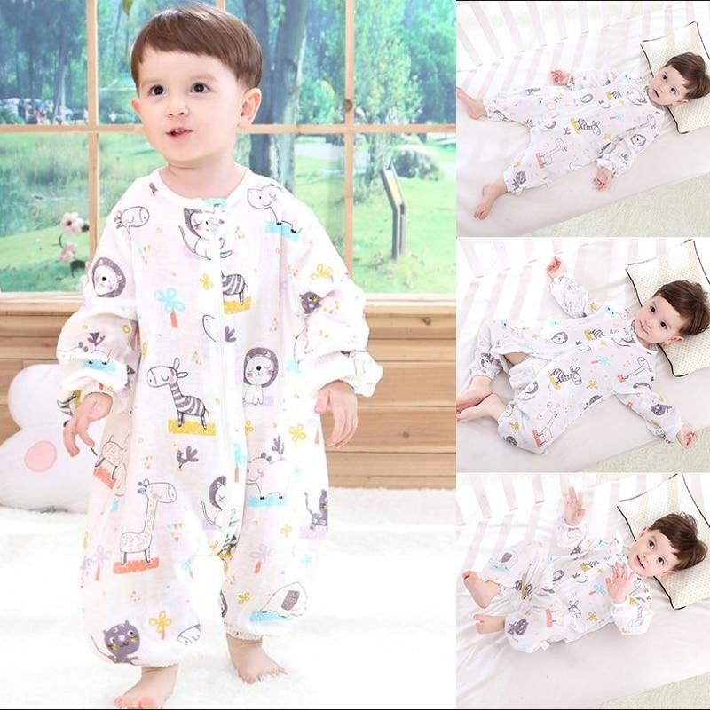 Summer 1-4 Years Old Kid's Newborn Gauze Split Leg Sleeping Sack Bag Double Cotton Breathable Baby Toddler Anti-kick Pajamas