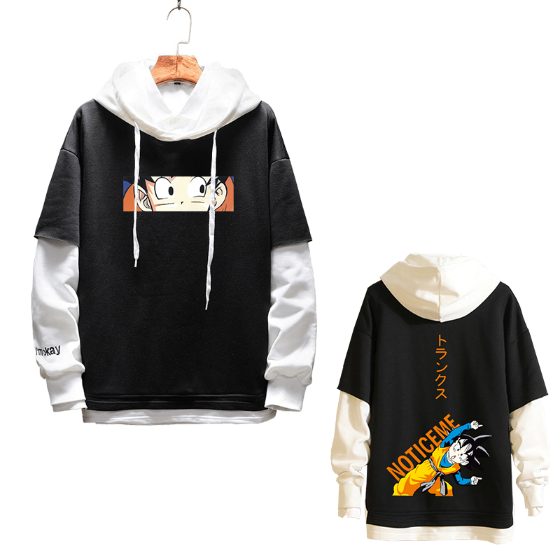 Fashion False Two Pieces Hoodies Anime Dragon Ball Z Son Goten Layered Hip Hop Sweatshirts Torankusu Cosplay Couple Loose Hoodie