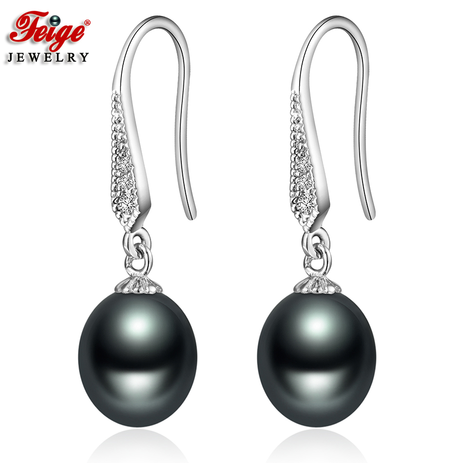FEIGE Vintage Natural Pearl Earrings For Women 8-9MM Black Freshwater Pearl Dangle Earring Party Gifts Fine Jewelry Dropshipping(China)