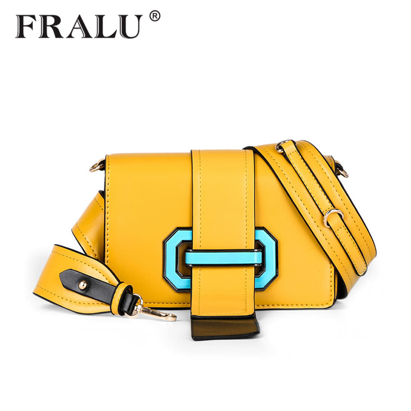 FRALU 2017 new womens shoulder bag fashion creative draw with buckle small square bag luxury handbags
