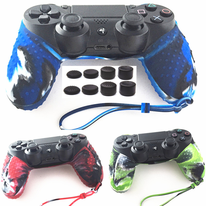 For Sony Dualshock 4 PS4 Pro Slim Controller Anti-slip Camouflage Silicone guards Protector Cover Skin Case With Strap+Grips