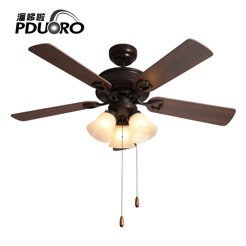 European Style Lamp Fan American Retro Wood Leaf Remote Control Chandel Light Ceiling Lights Restaurant Living Room Home In Fans From